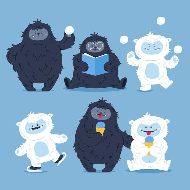 Collezione di personaggi abominevoli pupazzo di neve di bigfoot disegnati a mano sasquatch e yeti Vettore Premium