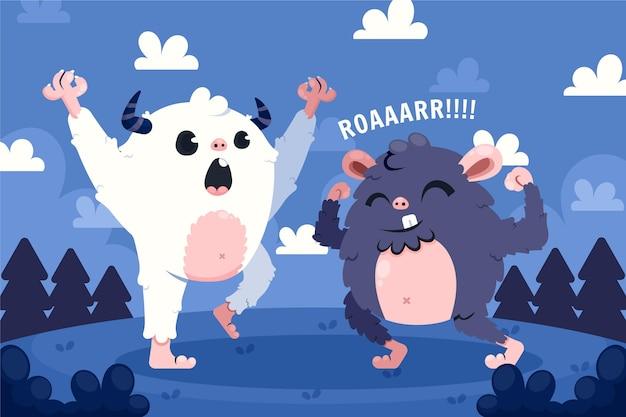 Disegnato a mano bigfoot sasquatch e yeti abominevole pupazzo di neve illustrazione Vettore Premium