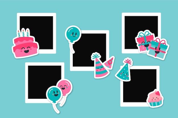 Disegnata a mano compleanno collage cornice nera copia spazio Vettore Premium