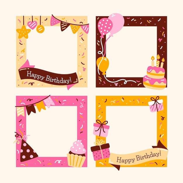 Cornice collage compleanno disegnato a mano con torta Vettore Premium