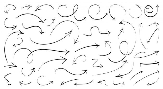 Set di frecce linea nera disegnata a mano. doodle sinistra destra verso il basso i segnali di direzione. schizzo di simboli freccia curva curva parallela. crescita del business con elementi di design grafico Vettore Premium