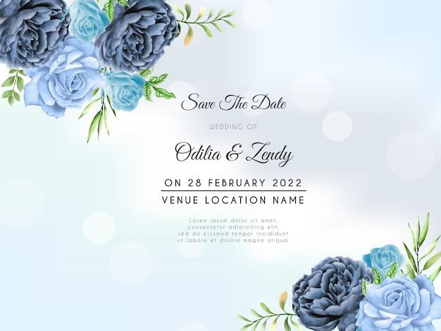 Modello di invito a nozze rose blu disegnate a mano Vettore Premium
