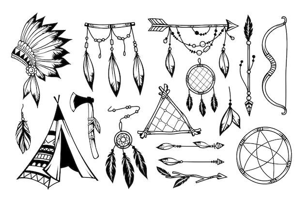 Collezione di elementi in stile boho disegnati a mano Vettore Premium