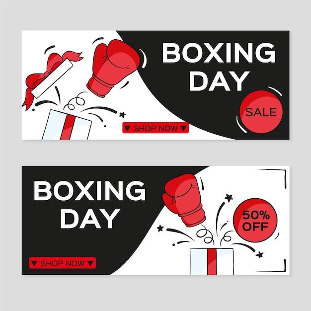 Banner di vendita di boxe day disegnati a mano Vettore Premium