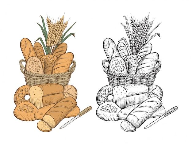 Disegnato a mano di assortimento di pane in un cesto su sfondo bianco Vettore Premium