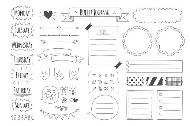 Elementi del diario proiettile disegnati a mano Vettore Premium