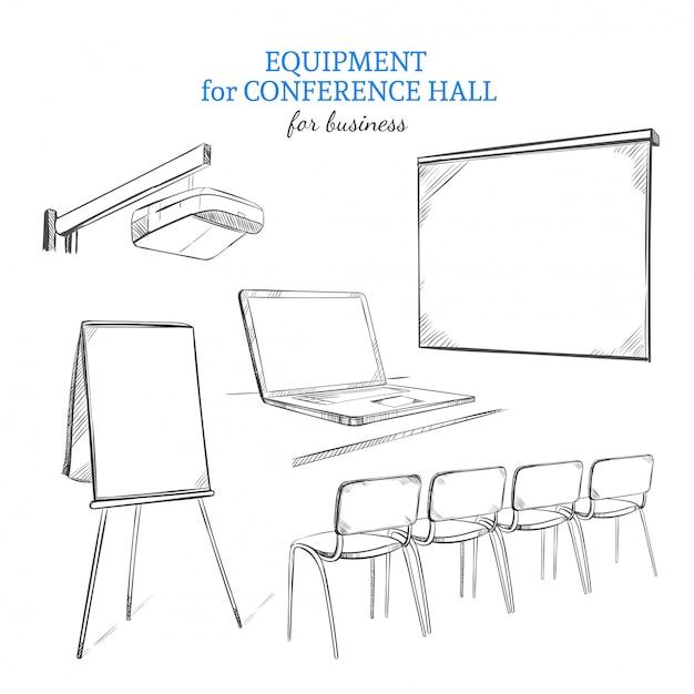 Set di attrezzature per presentazioni aziendali disegnate a mano Vettore Premium