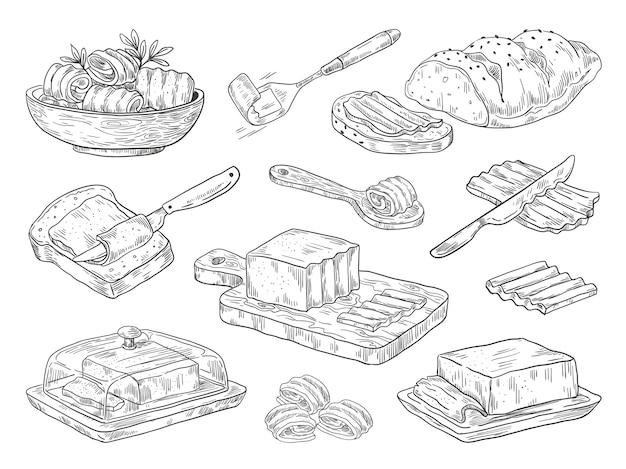 Illustrazione di burro disegnato a mano Vettore Premium