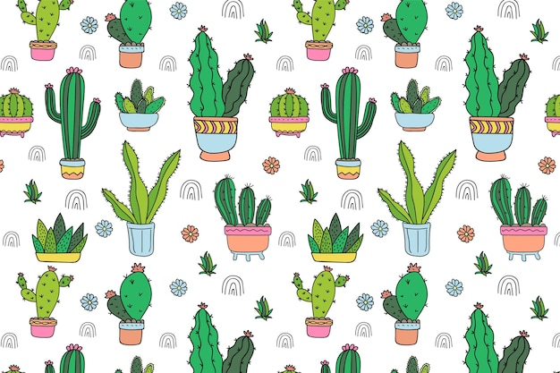 Modello di cactus disegnato a mano Vettore Premium