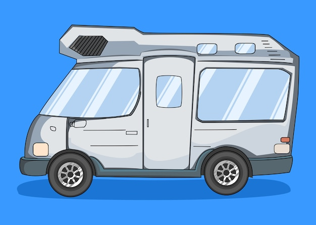 Furgone camper disegnato a mano isolato Vettore Premium