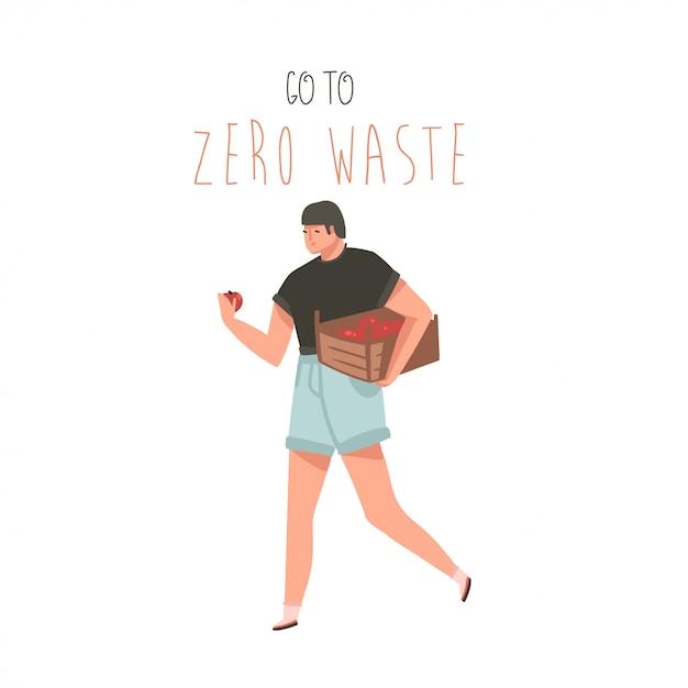 La carta moderna di arte delle illustrazioni grafiche del fumetto disegnato a mano con l'uomo del giardiniere e va a zero il concetto del testo di spreco isolato Vettore Premium