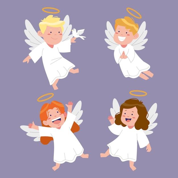 Collezione di angeli di natale disegnati a mano Vettore Premium