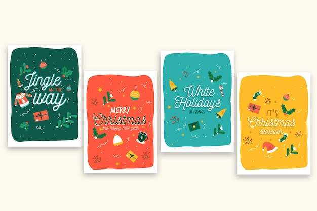 Modello di cartoline di natale disegnati a mano Vettore Premium