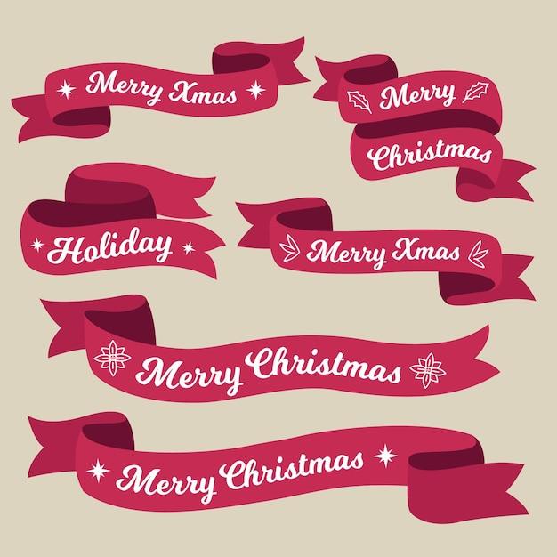 Collezione di nastri natalizi disegnati a mano Vettore Premium