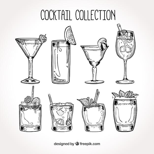 Collezione cocktail disegnata a mano Vettore Premium