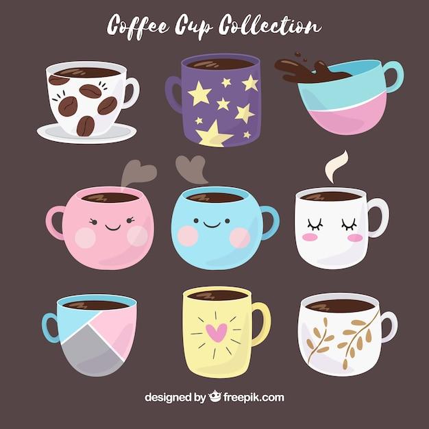 Collezione disegnata a mano della tazza di caffè Vettore Premium