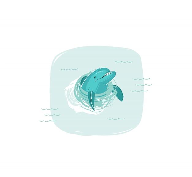 Illustrazione disegnata a mano di divertimento dell'ora legale del coon con il delfino di nuoto nelle onde dell'oceano blu su fondo bianco Vettore Premium