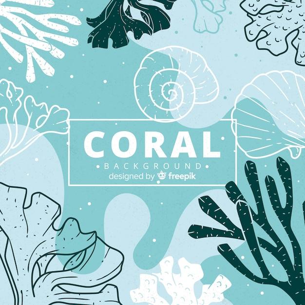 Sfondo corallo disegnato a mano Vettore Premium