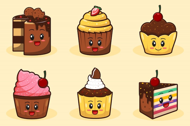 Fumetto sveglio disegnato a mano della torta e del muffin della tazza Vettore Premium