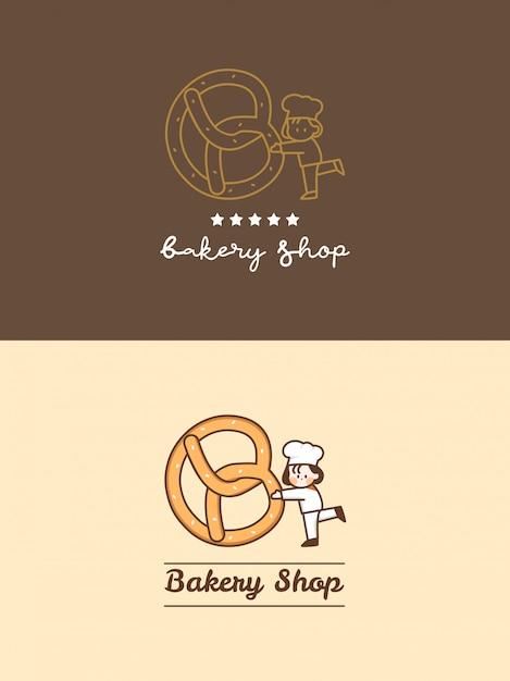 Negozio di panetteria carino disegnato a mano pretzel con piccolo chef e set di modelli di logo a cinque stelle Vettore Premium