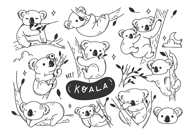 Doodles di koala carino disegnati a mano Vettore Premium
