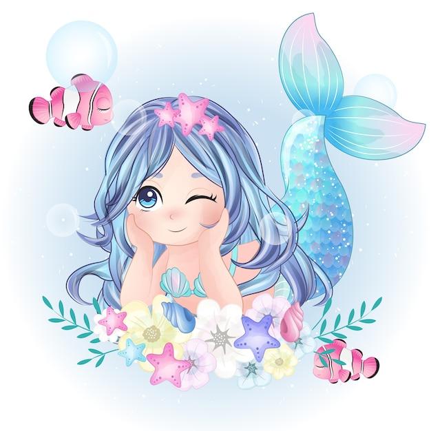 Carattere di sirena carino disegnato a mano Vettore Premium