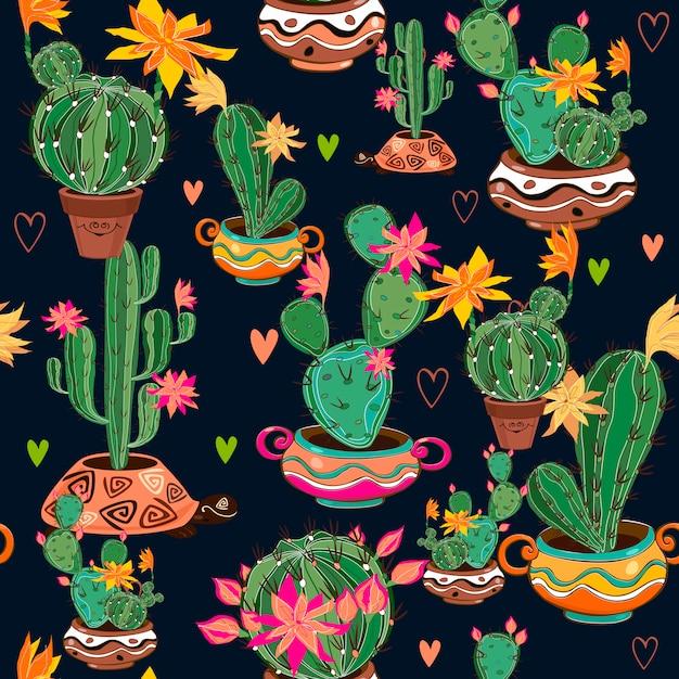 Reticolo senza giunte decorativo disegnato a mano con cactus. Vettore Premium