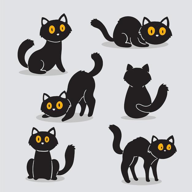 Collezione di gatti di halloween disegno disegnato a mano Vettore Premium