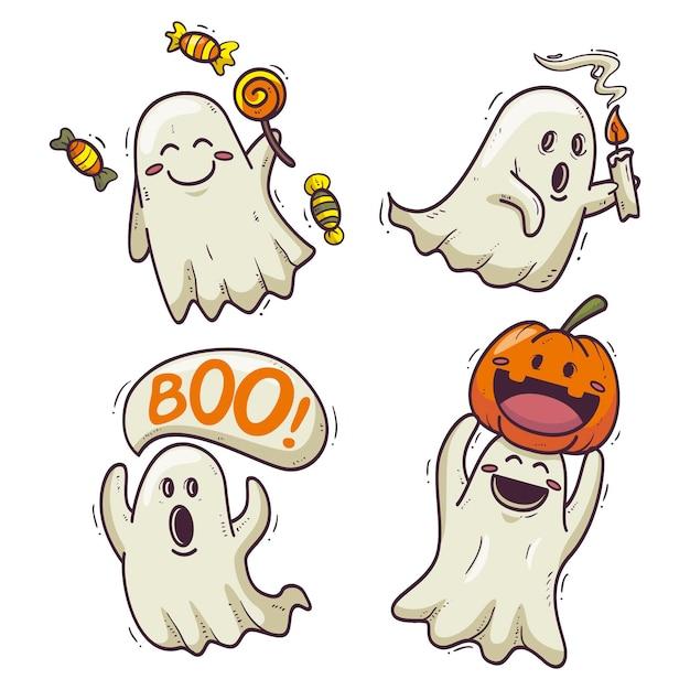 Collezione di fantasmi di halloween di design disegnato a mano Vettore Premium