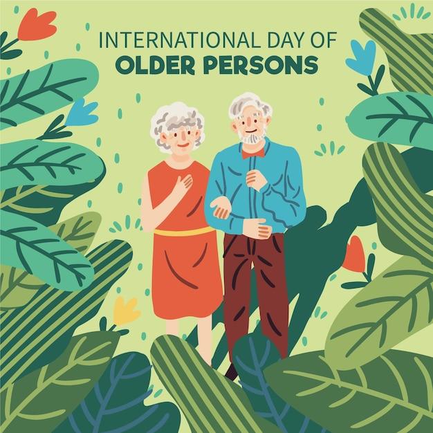 Giorno delle persone anziane di disegno disegnato a mano Vettore Premium