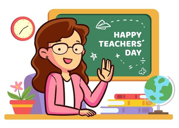 Evento del giorno degli insegnanti di design disegnato a mano Vettore Premium
