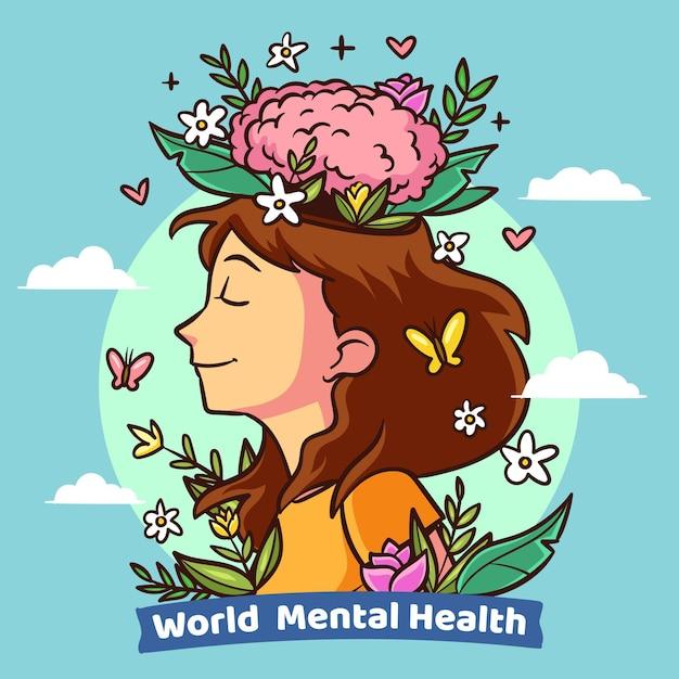 Giornata mondiale della salute mentale di design disegnato a mano Vettore Premium