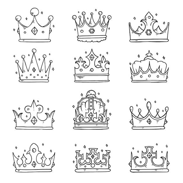 Collezione di corona doodle disegnato a mano Vettore Premium