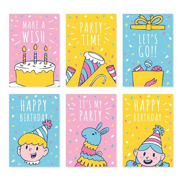 Modello di raccolta carta di compleanno carino doodle disegnato a mano Vettore Premium