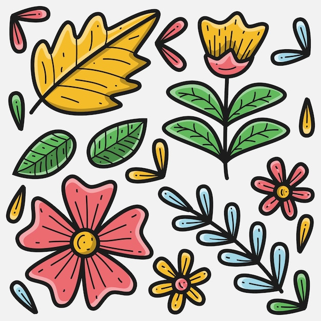 Illustrazione floreale doodle disegnato a mano Vettore Premium