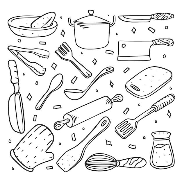 Set da cucina doodle disegnato a mano Vettore Premium