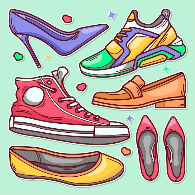 Doodle disegnato a mano dell'icona di scarpe adesivo Vettore Premium