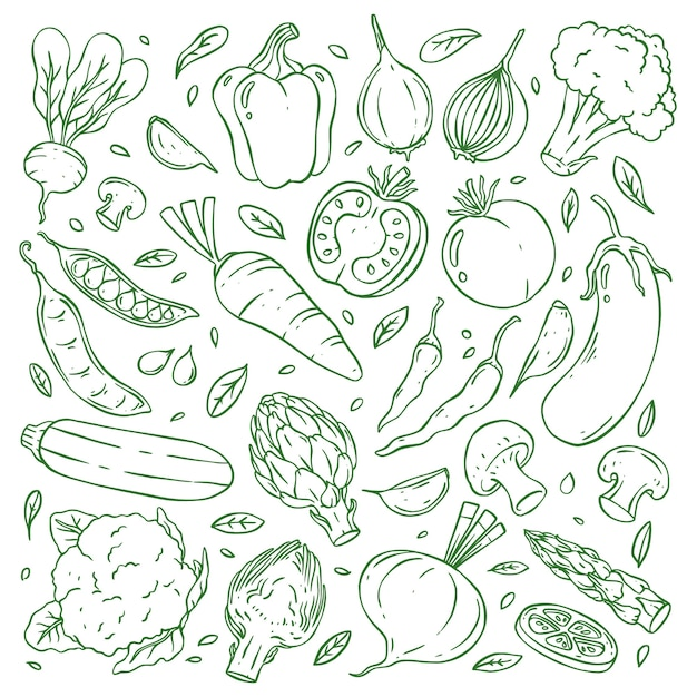 Raccolta di verdure doodle disegnato a mano Vettore Premium