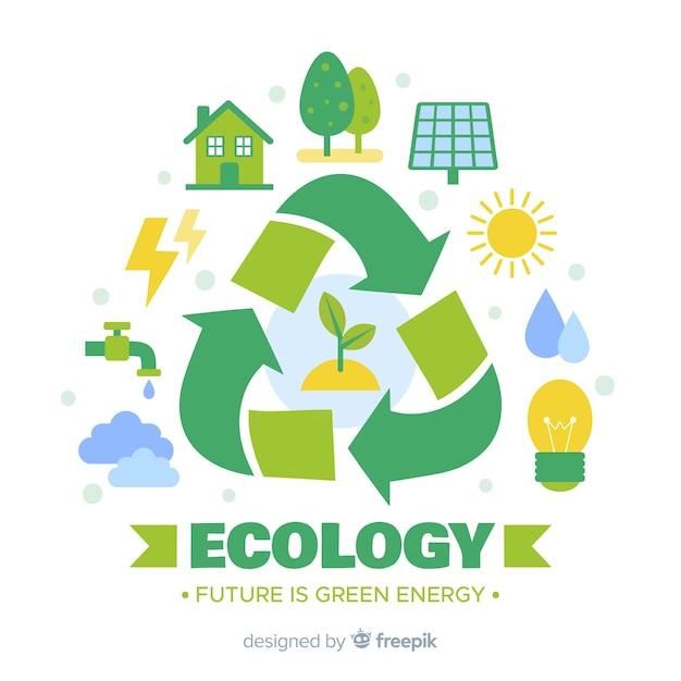 Concetto di ecologia disegnata a mano con elementi naturali Vettore Premium