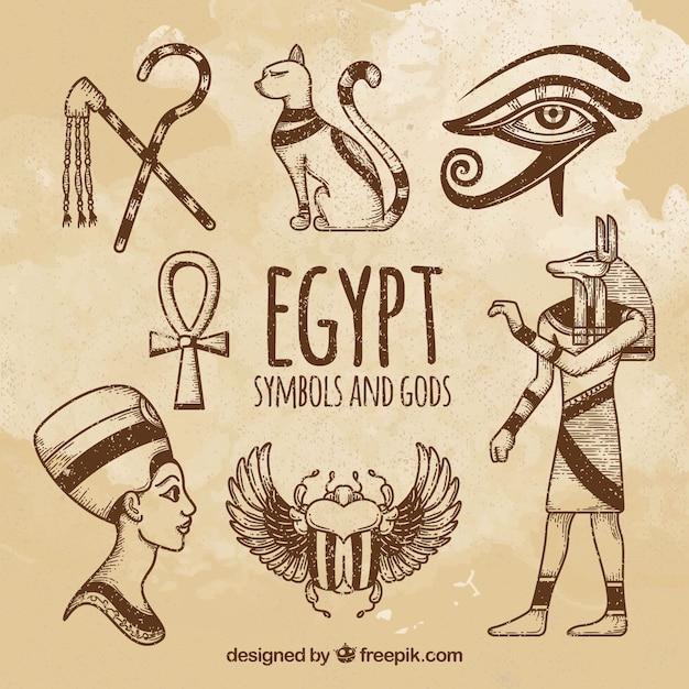 Collezione di simboli e divinità egizia disegnata a mano Vettore Premium
