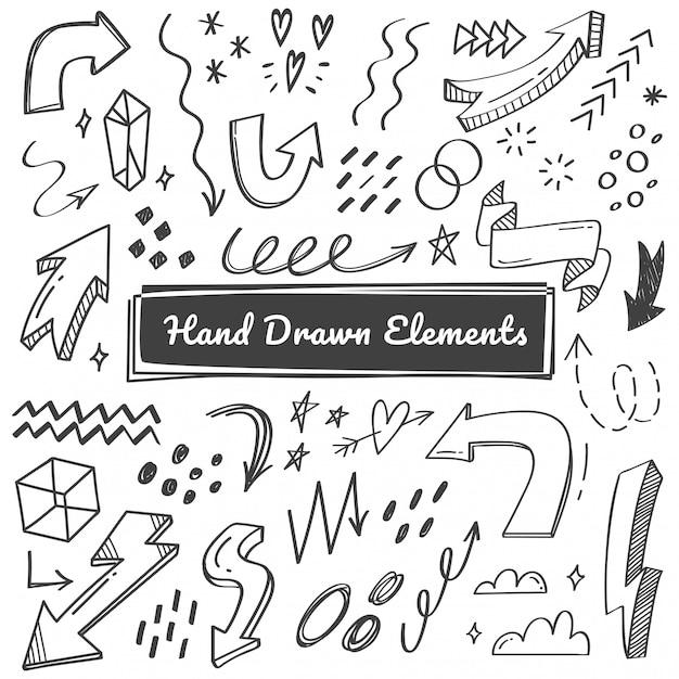 Elementi disegnati a mano, freccia, scarabocchi swish Vettore Premium