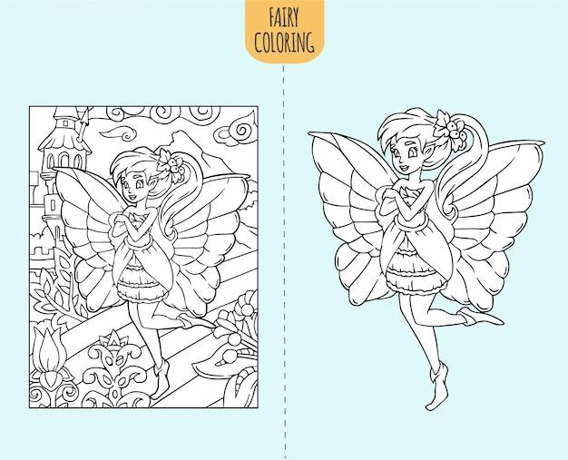 Illustrazione Di Pagina Libro Da Colorare Leggiadramente Disegnati A Mano Per Bambini Vettore Premium