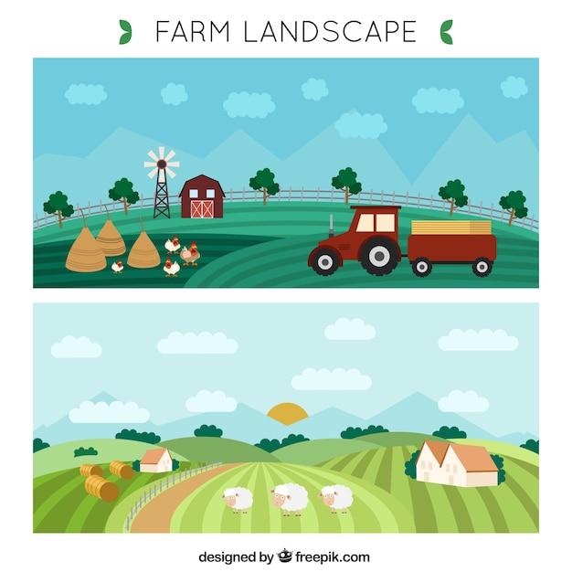 Disegnati a mano striscioni paesaggio agricolo Vettore Premium
