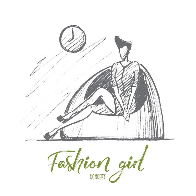 Schizzo di concetto di moda ragazza disegnata a mano Vettore Premium