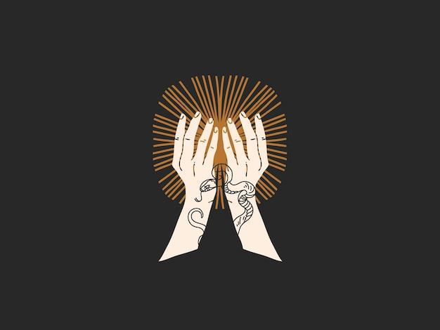 Illustrazione grafica piatta disegnata a mano con elementi di logo, mano umana che tiene il sole, arte al tratto magico in stile semplice Vettore Premium