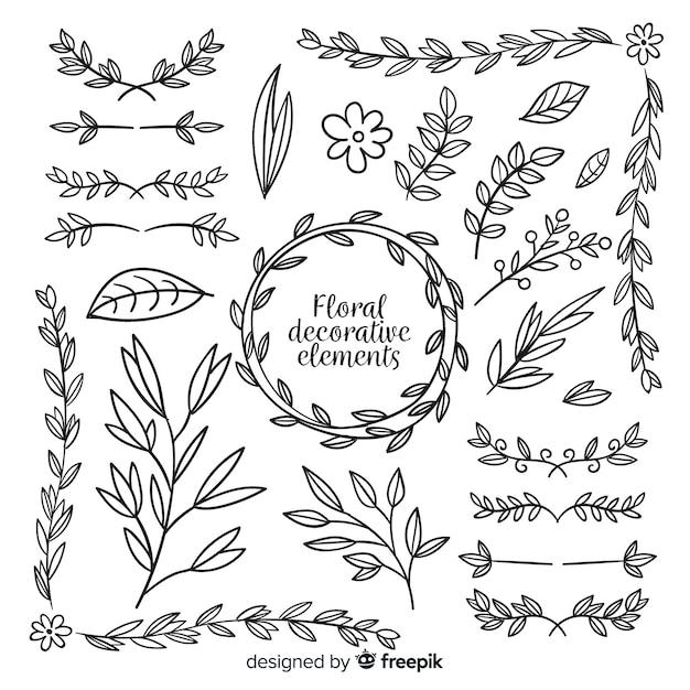Collezione di elementi decorativi floreali disegnati a mano Vettore Premium