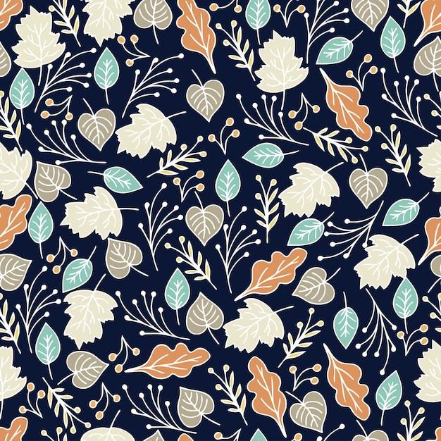 Modello senza cuciture floreale disegnato a mano con fiori e foglie. estate, primavera motivo floreale di sfondo. illustrazione Vettore Premium
