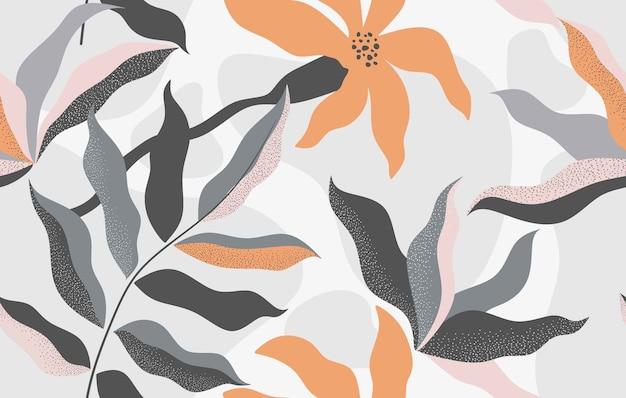 Modello senza cuciture floreale disegnato a mano Vettore Premium