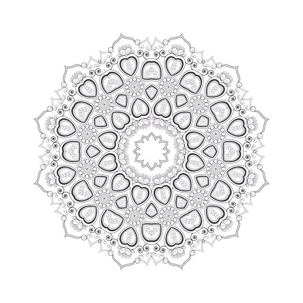 Mandala fiore disegnato a mano per libro da colorare. motivo henné etnico in bianco e nero. motivo indiano, asiatico, arabo, islamico, ottomano, marocchino. Vettore Premium