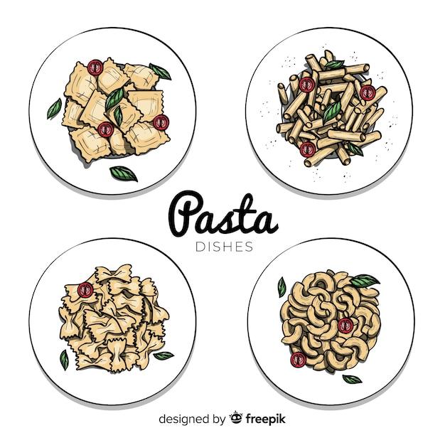 Raccolta di cibo disegnato a mano Vettore Premium